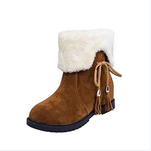 Schneestiefel Winter Stiefeletten Damen Sannysis Schuhe Heels Winterstiefel Mode Schuhe (Gelb, 39) Gelb Toms Schuhe