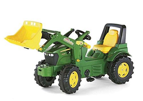 Trettrecker Rolly Toys 710027 Traktor Farmtrac Premium John Deere 7930 | Trettraktor mit Frontlader und Kettenantrieb | ab 3 Jahren | Farbe grün | TÜV/GS geprüft