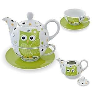 Thé en porcelaine tea for one service à thé avec théière et tasse avec soucoupe motif chouette vert/blanc