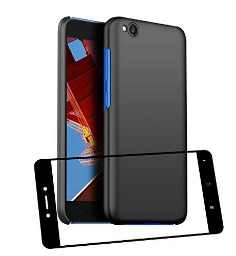 UCMDA Funda Xiaomi Redmi Go con Protector de Pantalla, Carcasa Duro Redmi Go con Cristal Templado - Negro