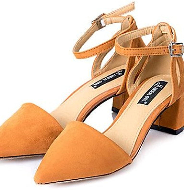GGX/Damen Schuhe Fleece Chunky Heel Heels Heels Outdoor/Casual Schwarz/Braun/Grau