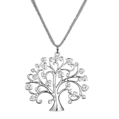 JMPSQ Halskette Vintage Frauen 5C Baum des Lebens Anhänger Und Halskette 3 Ketten Lange Halskette Kristallbaum Weihnachtsschmuck Junge Geschenke Silber (Leben Größe Weihnachtsschmuck)