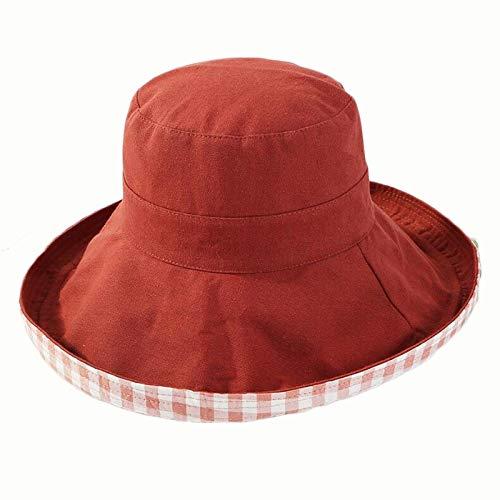 XMeter Neue kleine frische doppelseitige Plaid Baumwolle Fischer Hut Sommer große Reise Sonnenschutzvisier Pangyu. (Color : Brick red) -