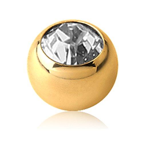 eeddoo Piercingkugel Kristall Gold Edelstahl Gewinde: 1,6 mm Sapphire Blau 4 mm (Schwarz Und Rosa Saphir-ring)