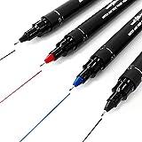 Uni Pin Fineliner Zeichenstift, 0,1mm, 4Stück, 2x schwarz, 1x blau und 1x Rot