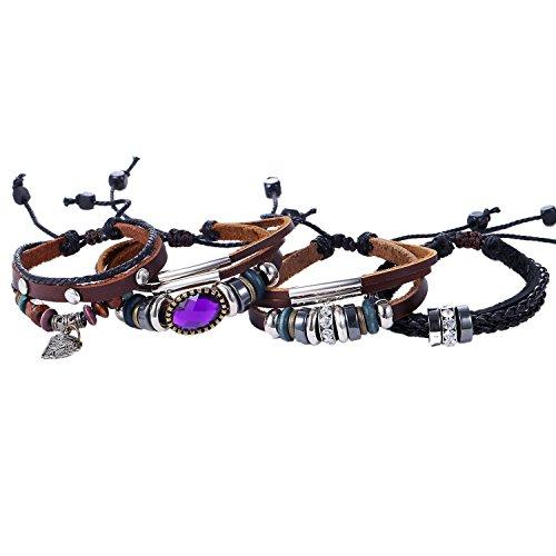 Morella Set di 4braccialetti in pelle per donna con zirconi e perle marrone/nero