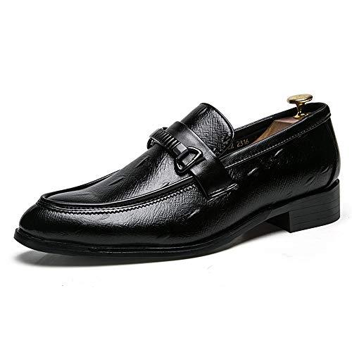 YIJIAN-SHOES Herren Oxford Schuhe Herrenmode Oxford Breathable Lässige Komfortable Slip On Metallschnalle Dekoration Outsole Formale Schuhe Kleid Oxford Schuhe (Color : Schwarz, Größe : 39 EU)