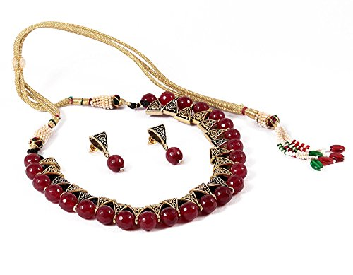 QURVED Maroon Colour Beads Fashionable Necklace Set with Tops Earrings for Indian Beuties/Women/Girls