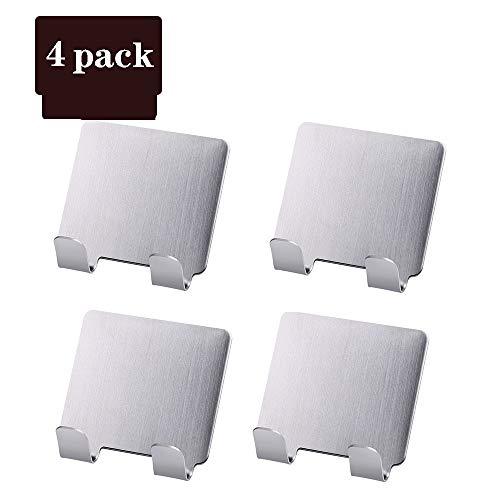 LIYOUPIN Self Adhesive Haken, 4 Stück Edelstahl 3M Adhesive Wandhalter für Küche Badezimmer Büro Closet - wasserdicht, kein Drillkleister,A