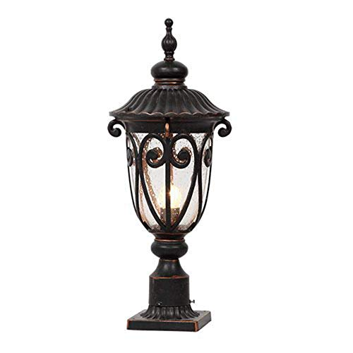 DEI QI Europäische Landschaftsgartenlichter Tischlampe Tischlampe im Freien Antike Tradition Victoria Garden Light Wasserdichtes Glas Rasen Gartenlampe E27 Dekoration Beleuchtung -