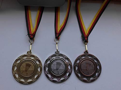 Fanshop Lünen Medaillen Set - aus Stahl 50mm - Badminton - Gold, Silber, Bronze - Federball - Alu Emblem 25mm - Gold,Silber,Bronce - mit Medaillen-Band - (e109) -