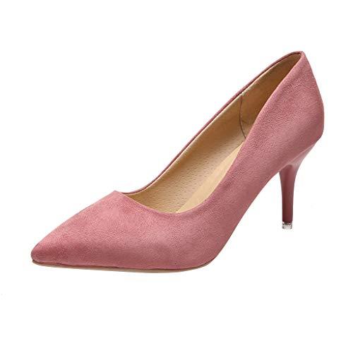 feiXIANG High Heels Business Schuhe Spitz Sandaletten Elegant Pumpe Stiletto Slip-On Brautschuhe(Rosa,34) -