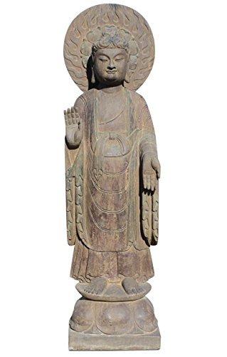 Asien Lifestyle Garten Buddha Statue mit Aureole aus Naturstein China Steinfigur