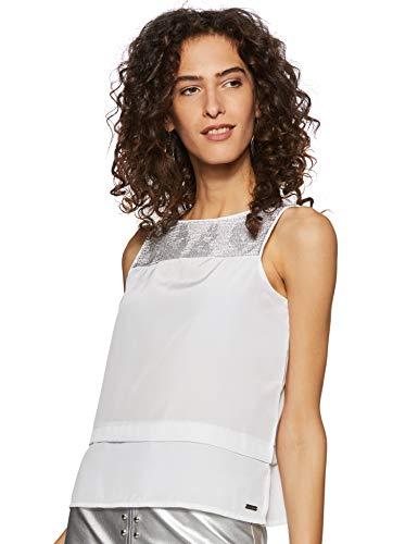 Being Human Women's Plain Regular fit Top (BHWSS6503_White_S)