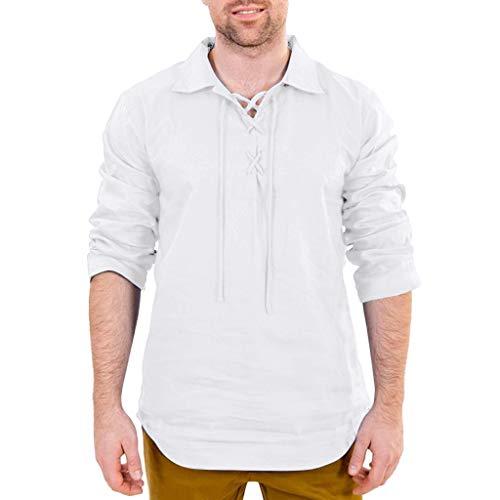 Fenverk Herren Freizeithemd 3/4 Ärmel Männer Sommer Hemd Casual Regular Fit Oberteile(Weiß D,XL)