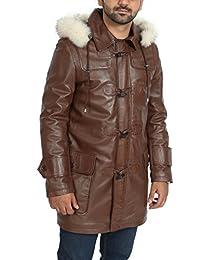 Manteau en Cuir Homme Marron 3 4 Capuche Amovible Zip Up Duffle Veste de  Designer 6d2c8d13c963