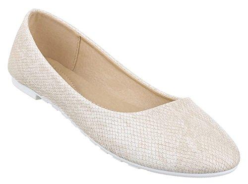 Damen-Schuhe Ballerinas | elegante Slipper mit Blockabsatz in verschiedenen Farben und Größen | Schuhcity24 | Loafers in Schuppen-Optik Beige