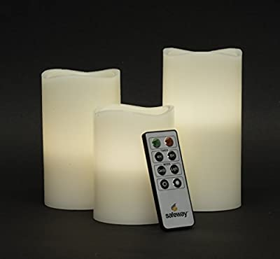 Safeway Candlelites - Set of 3 round LED Candle Lights, Flameless Candles, With Flickering Flame, Smooth Real Wax, With High Performance Remote Control Timer by Safeway Sales Ltd