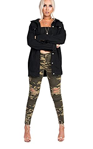 IKRUSH Women's Jude Ripped Skinny Camo Jeans Size in ARMY Size 12