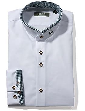Trachten Herren Stehkragenhemd Slim Fit Arido weiß grün
