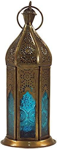 Guru-Shop Orientalische Messing/Glas Laterne in Marrokanischem Design, Windlicht, Türkis, Farbe: Türkis, 20x7,5x7,5 cm, Deko Teelicht, Teelichtgefäße