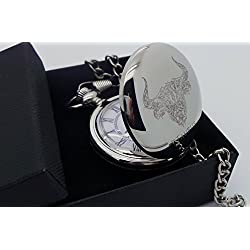 Taurus Star Sign , Zodiac Gifts, Zodiac, Astrology, Horoscopes, Taurus The Bull, Pocket Watch, Masons of London, Silver Plated Pocket Watch in Gift Box