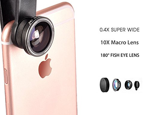 3 In 1 Universal Phone Camera Lens Kit with 0.4X Super Wide Angle Lens, 180 Degree Fish Eye Lens and 10X Macro Phone Lens for iPhone, Samsung, Blackberry, LG, and most cell phones (Black) -