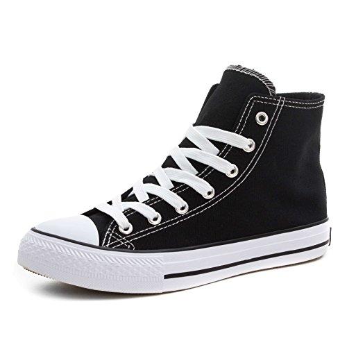 Klassische Unisex Damen Herren Schuhe Low High Top Sneaker Turnschuhe Schwarz/Weiß High