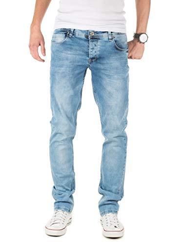 PITTMAN Jeans Herren Slim Fit Jeanshose Stretch Designer Hose, Blau (Faded Denim 174021), W38/L32 -
