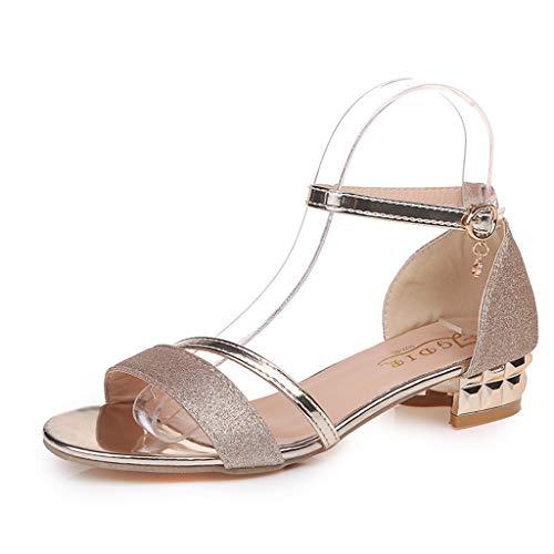 Frauit sandali donna eleganti con tacco basso con chiusura fibbia scarpe tacco medio sposa scarpe ballerine ragazza estive sandalo da ballo scarpe ragazze elegante basse con strass
