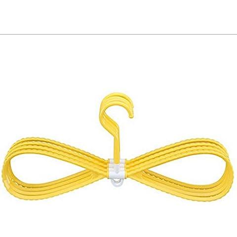 GYMNLJY Gruccia Home Candy colori portatile Hanger 360 grado girevole a secco e bagnato grucce multifunzione (confezione da 2 gruppi) , yellow , 10*19*42cm - Guanto Secco Gancio