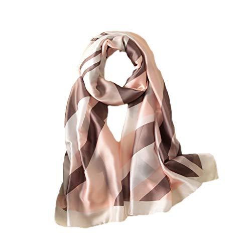 GYZ Damenschal Seidendrucke Kontraststreifen Neue Seidensatin Summer Sunscreen Silk Silk (Farbe : F)