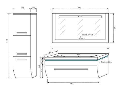 70 cm Schwarz mit Einem Hängeschrank Badmöbelset Vormontiert Badezimmermöbel Waschbeckenschrank