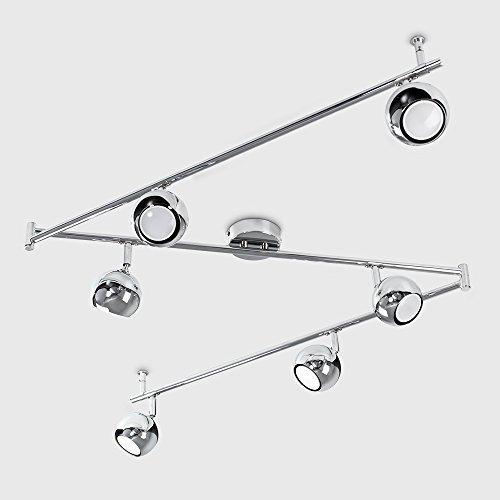 Moderner Deckenstrahler mit 6 runden Lampen, variierbarem Form und poliertem chrom Finish im Retro Design - 5