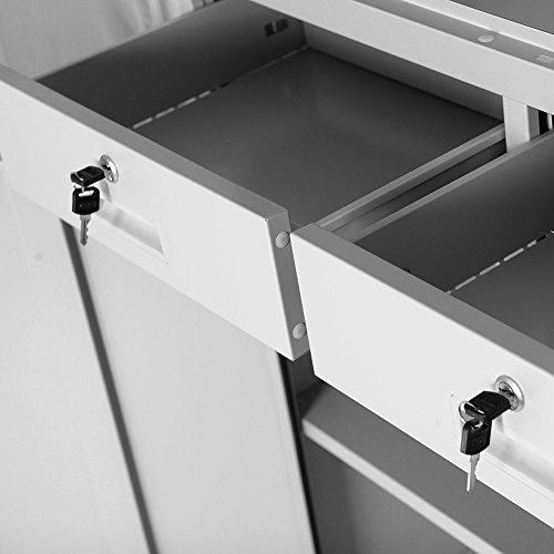 Aktenschrank Flügeltür aus Glas Schubladen Medizinschrank Büroschrank Stahlschrank 185 cm (grau/grau) - 3