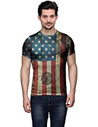 Wear Your Mind Multi-Coloured Poly Cotton Round Neck Printed T-shirt For Men CST117