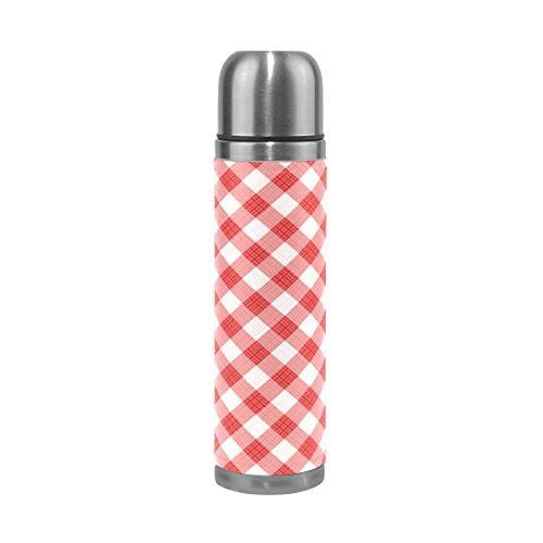 COOSUN Red Gingham-Quadrat-Muster-Edelstahl-Flaschen-Wasser-Flasche Vacuum Insulated Cup Leak Proof Doppelvakuumflasche, PU-Leder-Reise-Thermal-Becher, 17 Unzen 17 Unzen Mehrfarben (Karo-wasser-flasche)