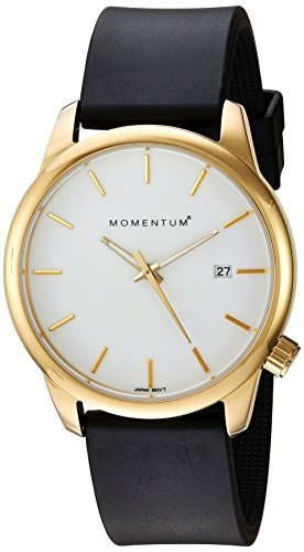Momentum Women's Quartz Stainless Steel and Rubber Dress Watch, Color:Black (Model: 1M-SP13W1B)