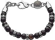 Diesel Men's Black-Tone Semi-Precious Beaded Bracelet, DX116