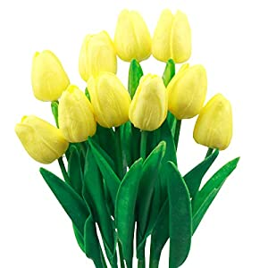 Natuce 10 Piezas Tulipanes Artificiales Tulipanes Flores Reales Falsas para la decoración de la Boda del Partido del…