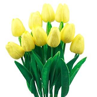 Natuce 10 Piezas Tulipanes Artificiales Tulipanes Flores Reales Falsas para la decoración de la Boda del Partido del Hotel en casa
