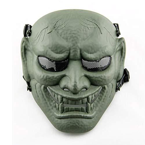 Steel Of Kostüm Cosplay Mann - WLXW Outdoor Japanische Samurai Metal Mesh Vollgesichtsschutz Air Gun Maske - Steel Mesh Brille - Halloween Cosplay Buddhistische Prajna Maske,Grün