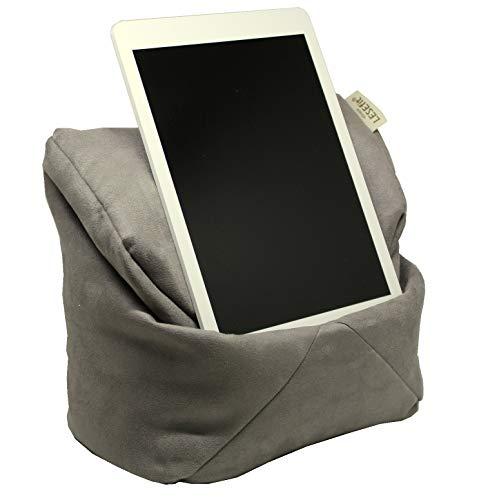 LESEfit Soft antirutsch Lesekissen, Tablet Kissen Halter kompatibel mit iPad *, Sitzsack für Buch & eBook (multifunktionale Quader-Form) für Bett & Sofa - Wildleder-Imitat grau