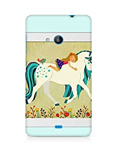 AMEZ Horse with girl Back Cover For Microsoft Lumia 535