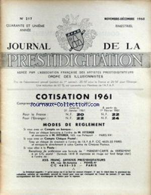 JOURNAL DE LA PRESTIDIGITATION [No 217] du 01/11/1960 - COTISATION 1961. par Collectif