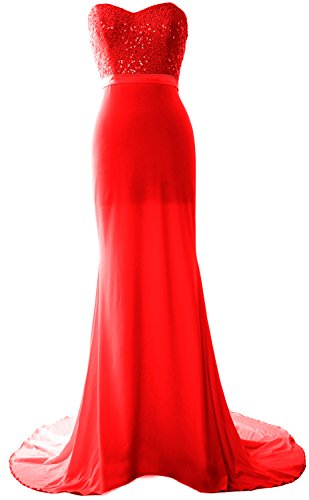 MACloth Women Mermaid Bridesmaid Dress Jersey Sequin Wedding Party Evening Gown Rot