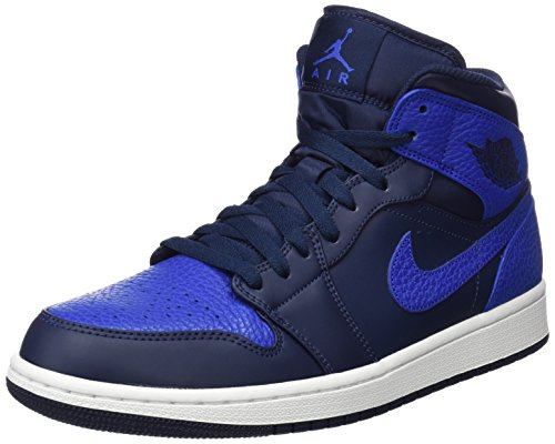 Nike Herren Air Jordan 1 Mid Basketballschuhe, Grau (Obsidiangame Royalsummit Weiss), 47 EU (Basketball-schuhe Eine Und)
