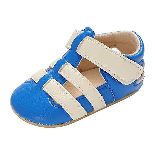 by PU-Leder Flach Krippe Schuhe Mädchen Junge Turnschuhe Kleinkind Outdoor Freizeitschuhe (Blau,1=0-6 Monat) ()