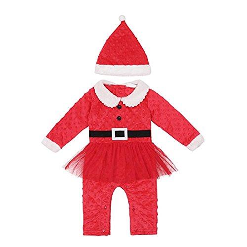 Neugeboren Baby Weihnachts-Outfit,FRIENDGG Kinder Mädchen Langarm Feste Gaze Weihnachten Kleidung Oansatz Mode Strampler Overall Anzug für 0-24 Mt baby (80, (Mädchen Weihnachts Outfit)