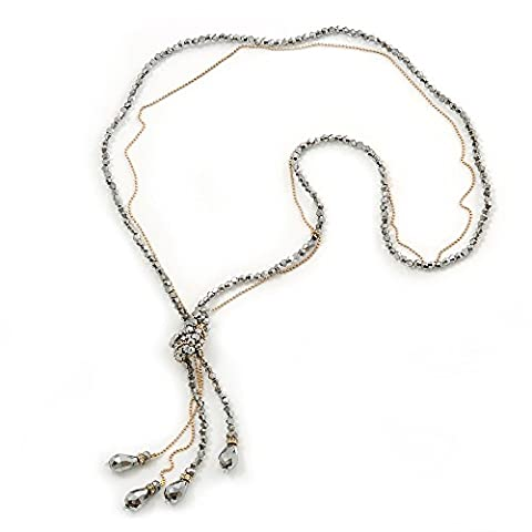 Long Metallic Silver Faceted Glass Bead & Gold Beaded Chain